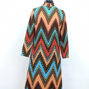 60s vintage long sleeve mock neck dress